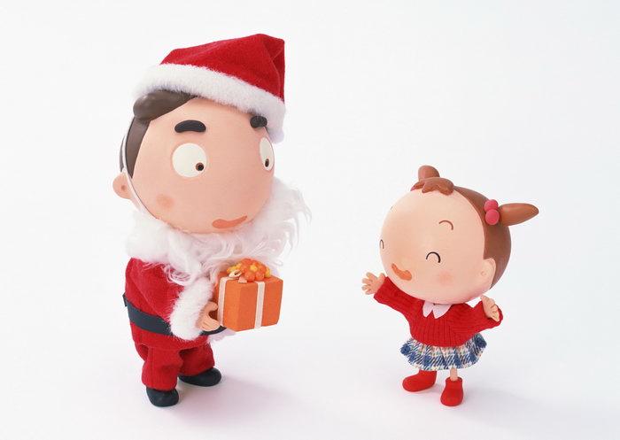 卡通圣诞老人与小女孩图片