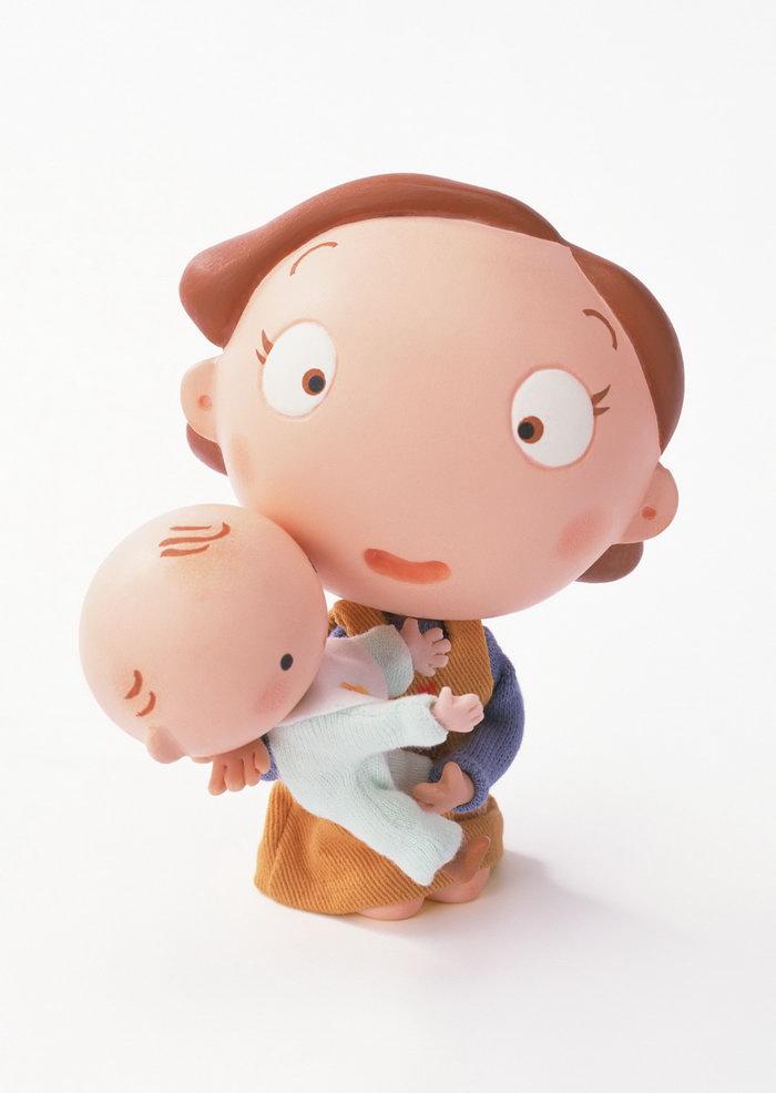 卡通妈妈抱婴儿图片
