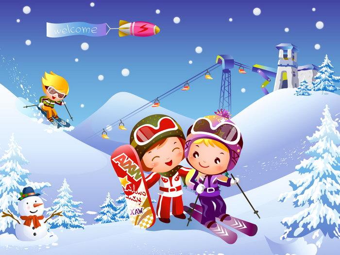 儿童滑雪运动卡通图片