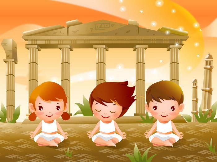 儿童瑜伽卡通图片-素彩图片大全