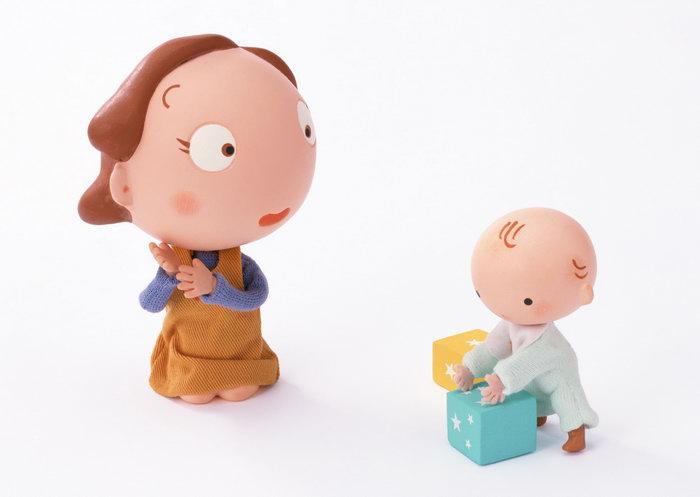 卡通妈妈与婴儿图片