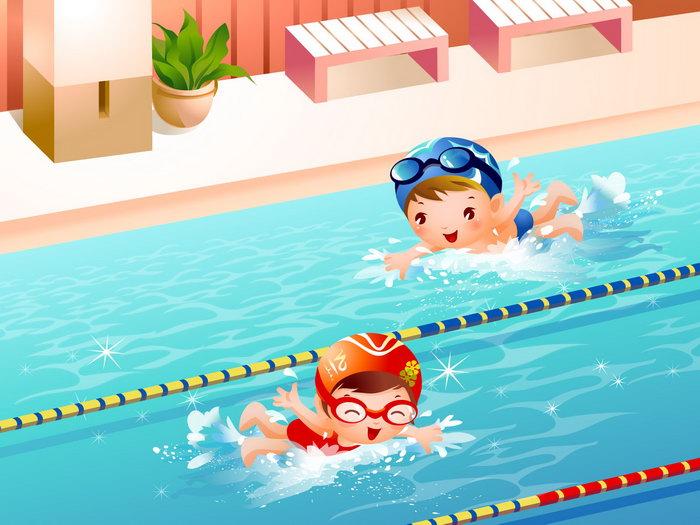 儿童游泳比赛卡通图片图片