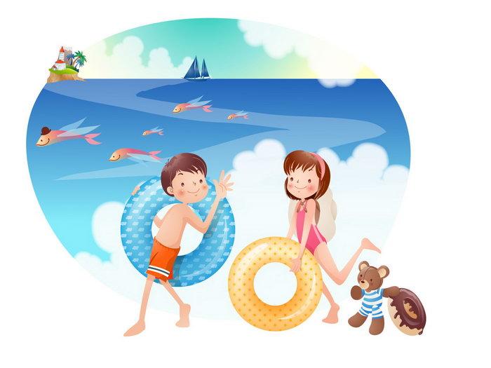 儿童沙滩游泳卡通图片