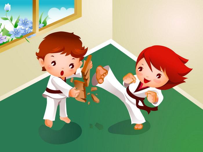 儿童跆拳道卡通图片-素彩图片大全