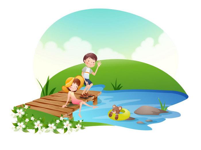 儿童河边戏水卡通图片