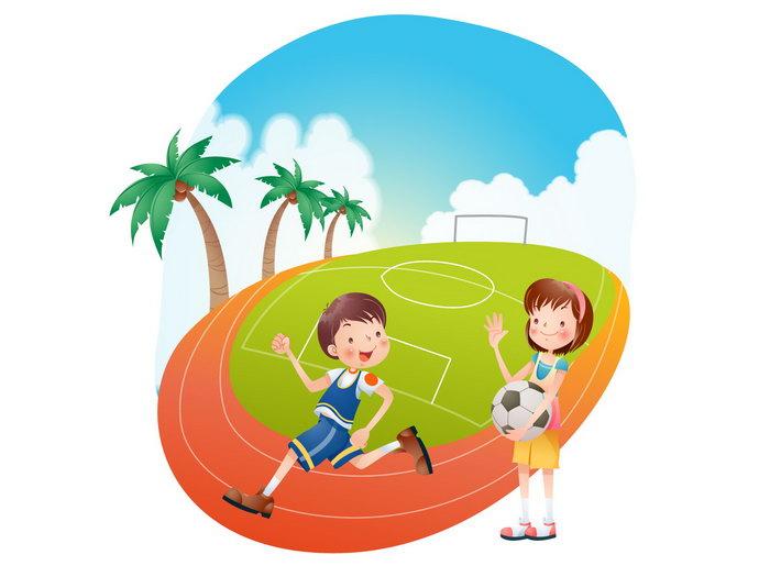 儿童足球运动卡通图片