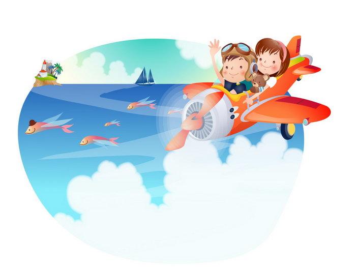 儿童开飞机卡通图片-素彩图片大全