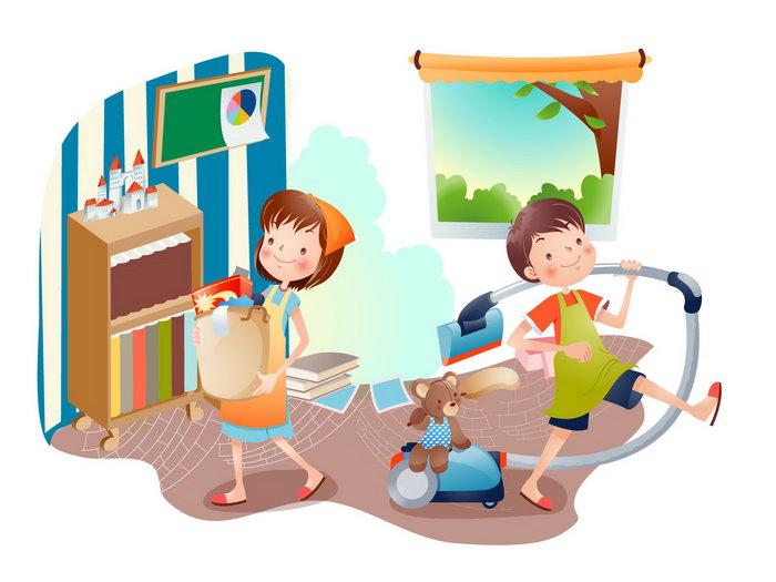 儿童做家务卡通图片