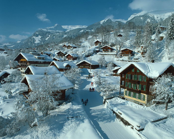 冬天村庄风景图片