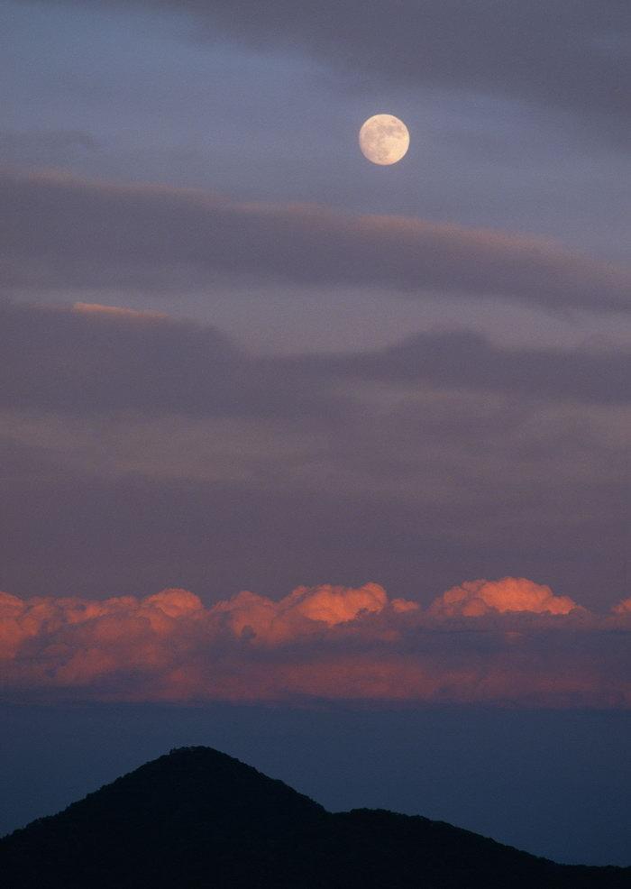 夕阳夜景月亮天空美景图片