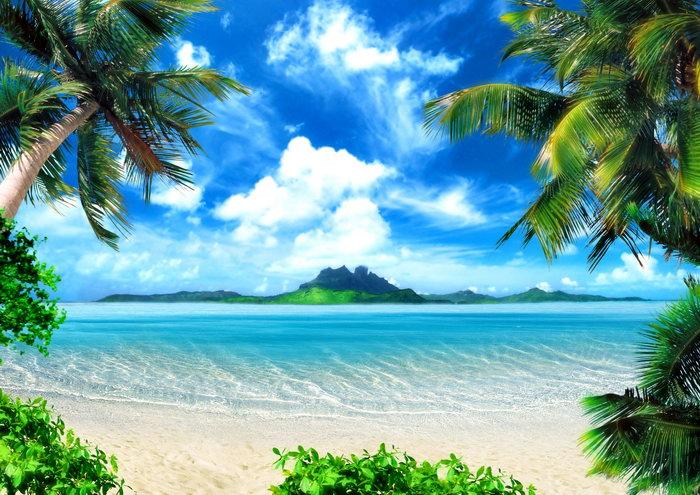夏日海滩大海风景风光图片-素彩图片大全