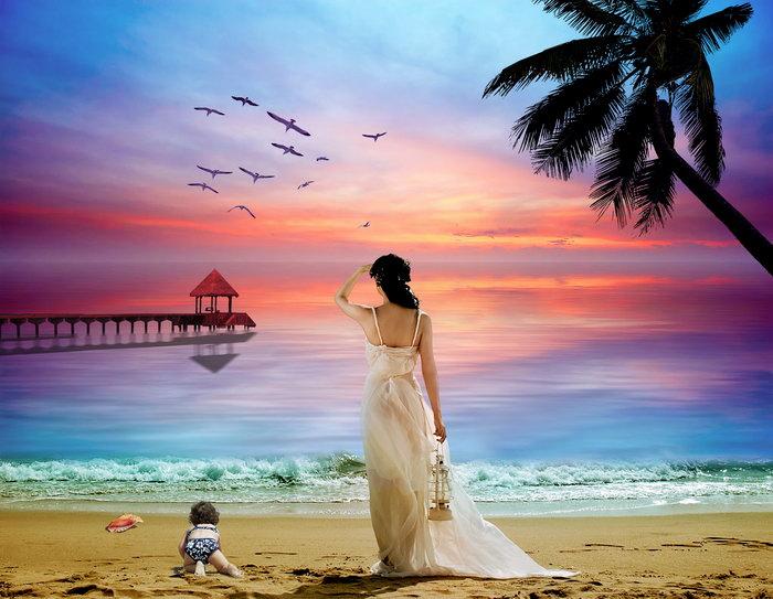 夕阳大海大海风景风光图片-素彩图片大全