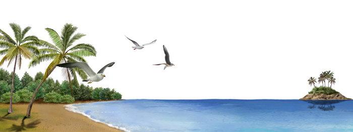 手绘大海大海风景风光图片