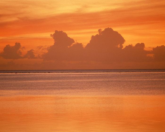 大海夕阳红大海风景风光图片,大海夕阳红风景夏威夷风光,蓝天白云