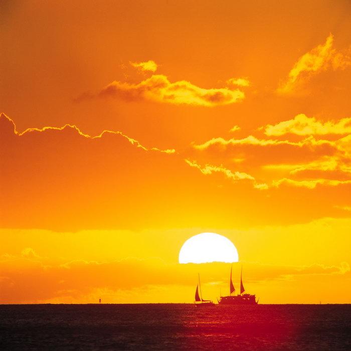 大海日落夕阳红风景大海风景风光图片