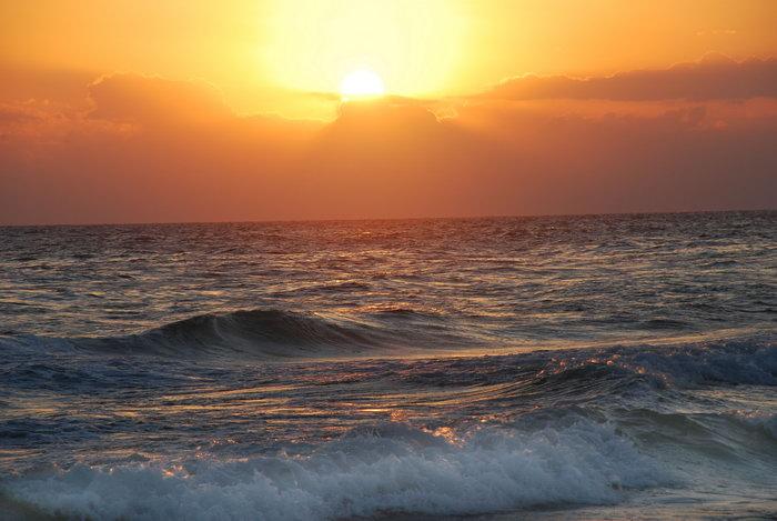 夕阳大海海浪大海风景风光图片-素彩图片大全
