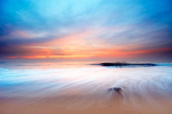 彩海边风景画简单_海天相接大海风景风光图片-素彩图片大全