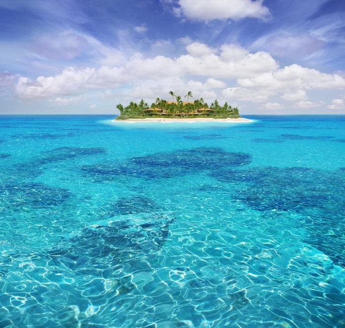 大海孤岛大海风景风光图片-素彩图片大全