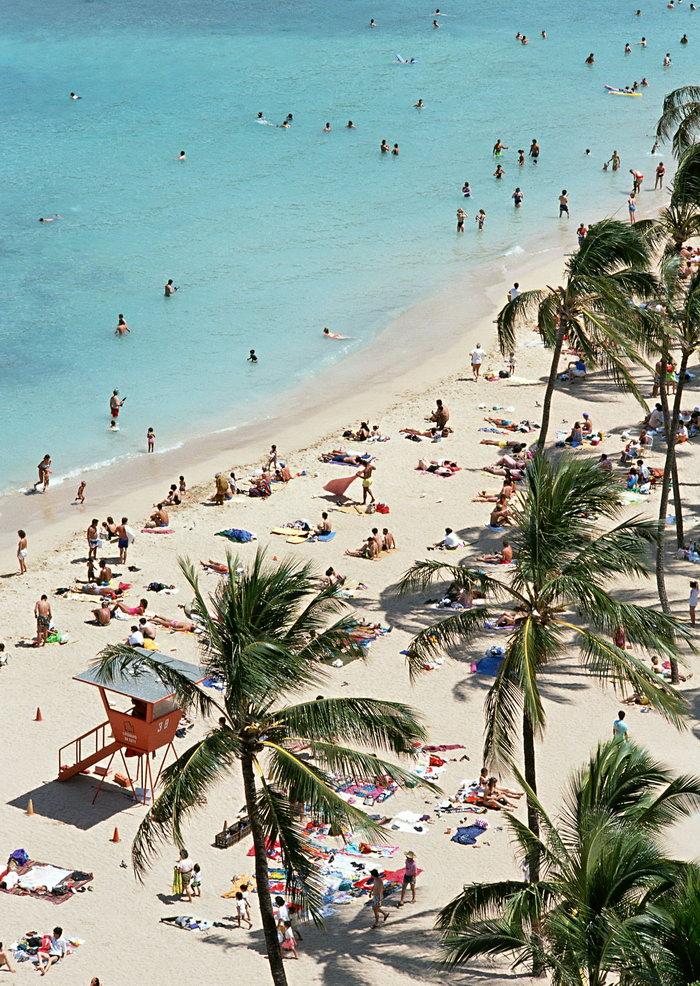 夏日海边沙滩风景大海风景风光图片-素彩图片大全