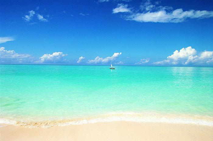 大海沙滩大海风景风光图片-素彩图片大全