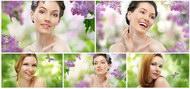 美女与花卉图片