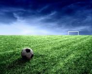 草地球场足球球门图片