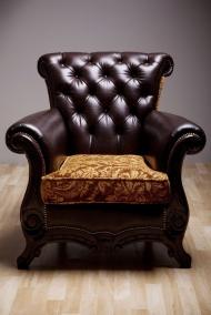 欧式黑色单人皮沙发